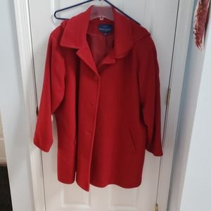 Red wool coat with hood